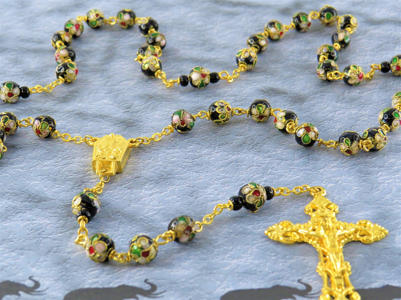 Black flower rosary