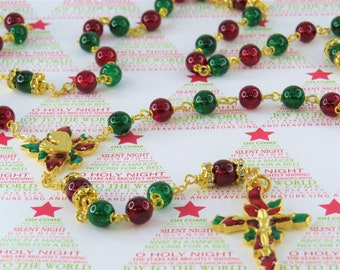 Christmas Poinsettia Rosary - Red and Green Crackle Glass Beads-Austrian Rhinestone Father Beads-Gold Christmas Poinsettia Center & Crucifix