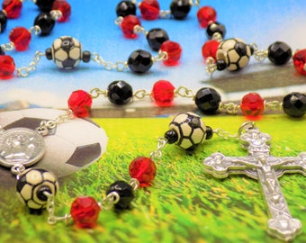 Black and Red Soccer Rosary - Czech Black & Red Glass Beads - Ceramic Soccer Balls - Ital St Sebastian Center - Italian Eucharistic Crucifix