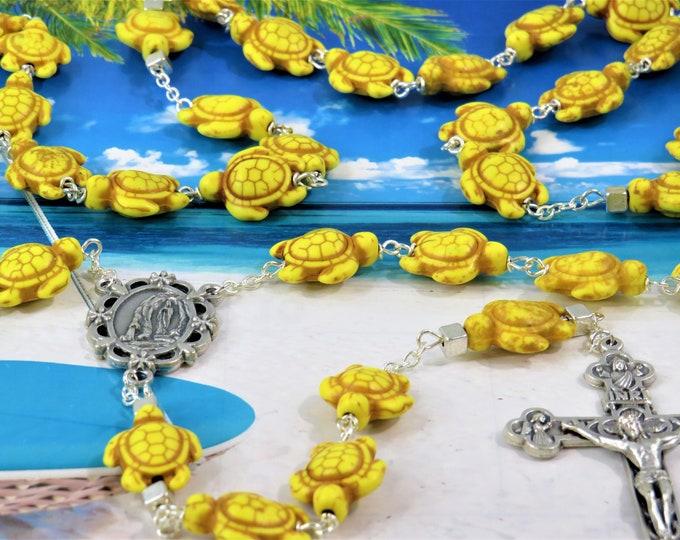 Yellow Stone Turtle Rosary - Yellow Stone Turtle Beads - Silver Accent Beads - Italian Silver Lourdes Center - Italian Eucharistic Crucifix