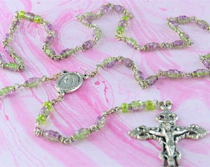 Green and Amethyst Crackle Crystal Rosary - Green & Amethyst Crackle Crystal Beads - Medjugorje with Earth Center -Italian Filigree Crucifix