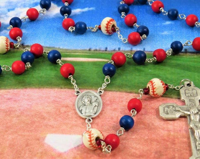 Baseball Rosaries - Red and Blue or Yellow and Black Cheesewood Beads, Ceramic Baseballs, Italian Centers, Stations of the Cross Crucifix