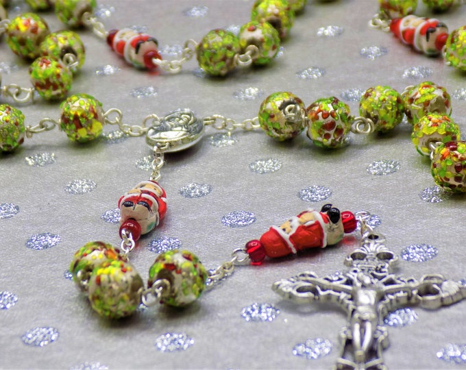 Christmas lampwork Glass Rosary - Textured lampwork Glass Beads - Santa Claus Beads -Mary and Child Earth Center - Italian Filigree Crucifix