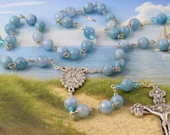 Aquamarine Rosary - Semi Precious Aquamarine 8mm Beads - Czech Accent Beads - Italian Mary and Roses Center - Italian Eucaristic Crucifix