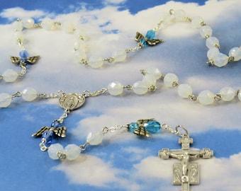Crystal Angel Rosary - Czech Opal Crystal Beads - Czech Blue Crystal Angel Beads - Italian Mary and Angels Center - Italian Angel Crucifix
