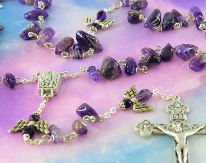 Semi Precious Amethyst Angel Rosary - Semi Precious Amethyst Nugget Beads - Angels - Italian Fatima Center - Italian Eucharistic Crucifix