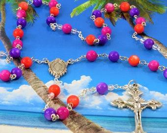 Multi Color Gemstone Rosary - Mother of Pearl Multi Color Gemstone Beads - Italian Mary Miraculous Center - Italian Silver Sunburst Crucifix
