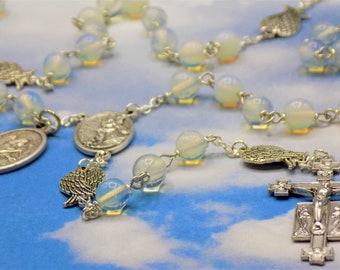 Guardian & Archangel Rosary - Sea Opal Round Crystal Beads - Silver Angel Wings - Italian Guardian Angel Center - Italian Angels Crucifix