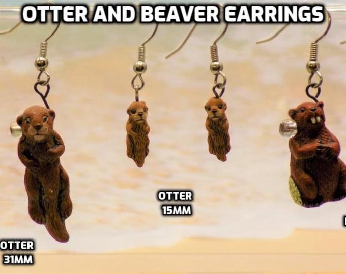 Otter and Beaver 3D Earrings