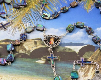 Natural Abalone Paua Shell Rosary - Natural Abalone Paua Shell Beads and Crosses - Divine Mercy Center - Black Enamel St. Benedict Crucifix