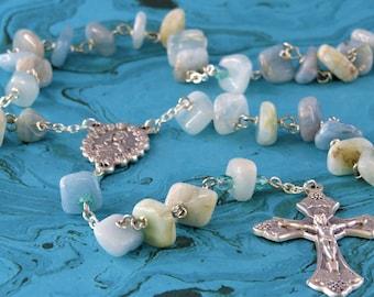 Aquamarine Rosary - Semi Precious Aquamarine Nugget Beads - Czech Accent Beads -Italian Mary and Roses Center-Italian Grapes & Vine Crucifix