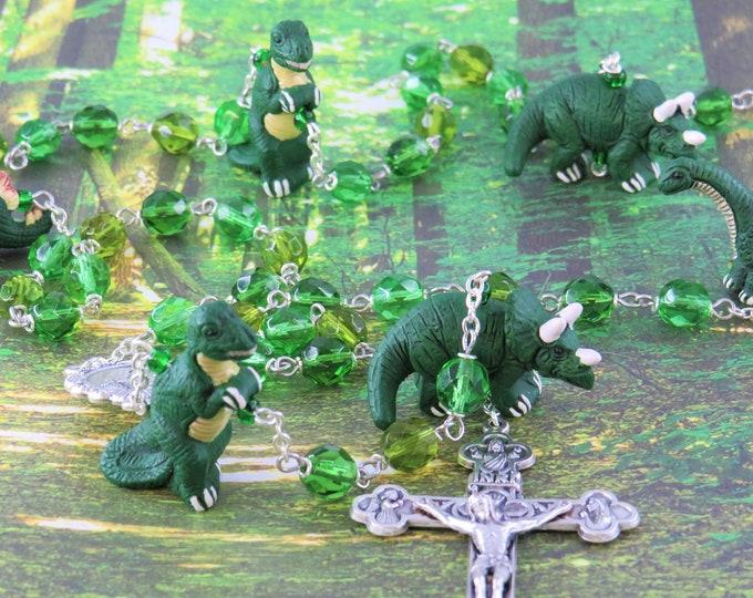 Dinosaur Rosary - Czech 3 Color Crystal Green 8mm Beads - Ceramic Dinosaur Beads - Italian Fatima Center - Italian Eucharistic Crucifix