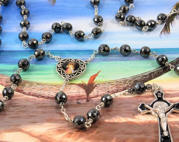 Faceted Hematite Rosary - Semi Precious Faceted Hematite Beads - Divine Mercy and Medugorje Color Center -Black Enamel St. Benedict Crucifix