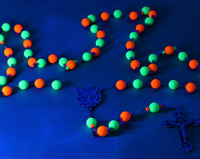 Czech Neon Rosary - Czech Green and Orange 8mm Glass Beads - Father Accent Beads - Italian Immaculate Mary Center -Italian Filigree Crucifix