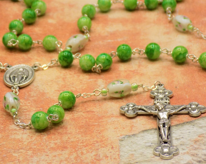 Green Glass Rosary - Light and Dark Green Glass Beads - White Lamp Glass Father Beads - Italian Miraculous Medal Center-Eucharistic Crucifix