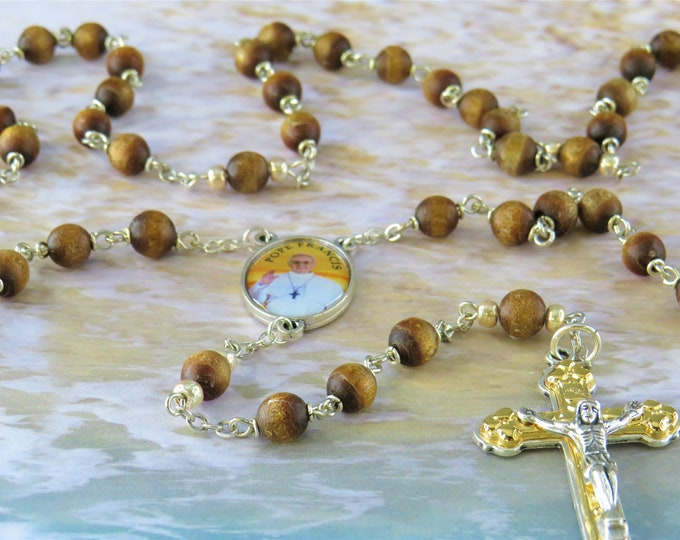 Gold Coral Rosary - Natural Gold Coral Beads - Czech Gold Accent Father Bead - Italian Silver Pope Francis Center - Italian Heart Crucifix