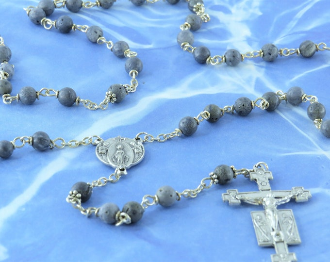 Blue Coral Rosary - Natural Blue Coral Beads - Metal Father Accent Beads - Italian Mary and Angels Center - Italian Silver Angels Crucifix