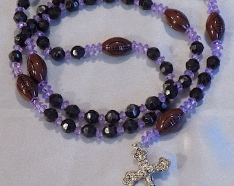 Football Sports Rosaries - Black and Purple - Black and Orange - Blue and Red - Red and Gold - Assorted Team Colors