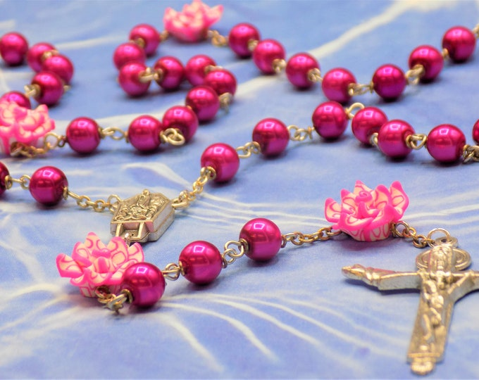 Pink Pearl & Flower Rosary - Pink Glass Pearl Beads - Pink Polymer Clay Flower Beads - Fatima and Water Center - Italian Trinity Crucifix