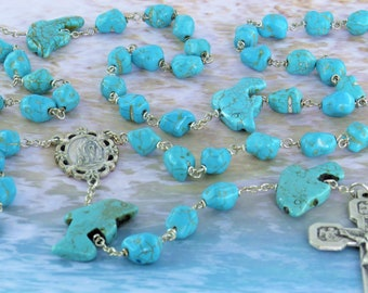Dolphin Turquoise Rosary - Turquoise Magnesite Dolphin & Nugget Gemstone Beads - Italian Lourdes Center - Italian Stations of Cross Crucifix
