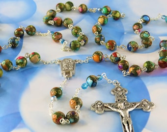 Multi Color Rainbow Sea Jasper Rosary - Multi Color Sea Sediment Jasper Gemstone Beads - Lourdes with Water Center - Eucharistic Crucifix