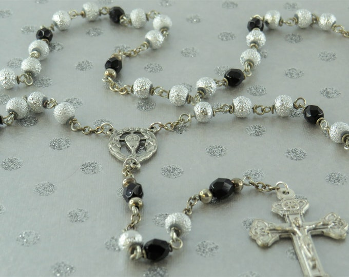 Silver and Czech Black Glass Rosary - Silver Textured Glass Beads - Czech Black Glass Beads - Italian Angels Center - Italian Earth Crucifix