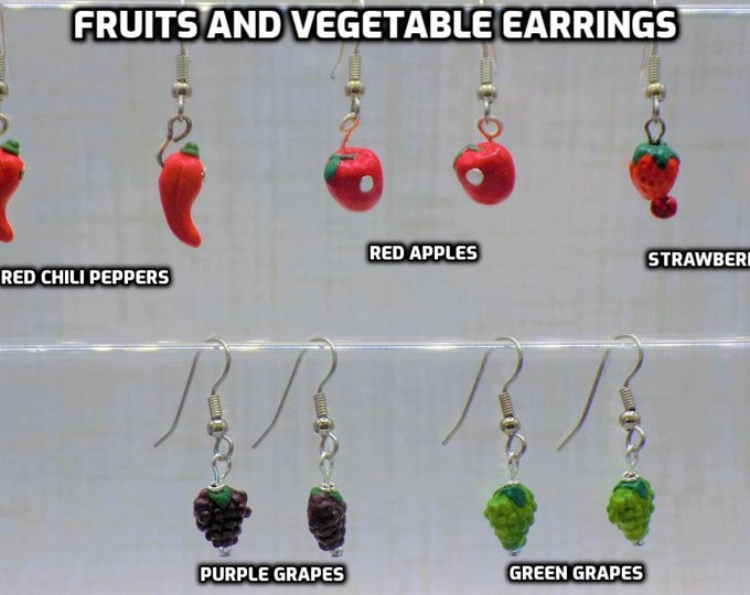 Fruits and Vegetable Earrings - Red Chili Peppers - Red Apples - Strawberries - Purple Grapes - Green Grapes - Hypo Surgical Steel Ear Wires