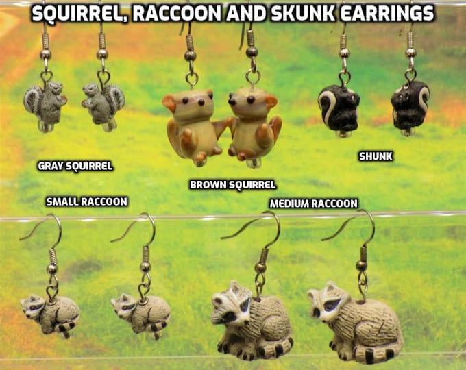 Gray and Brown Squirrels, Raccoons (2 Sizes) & Skunk 3D Earrings