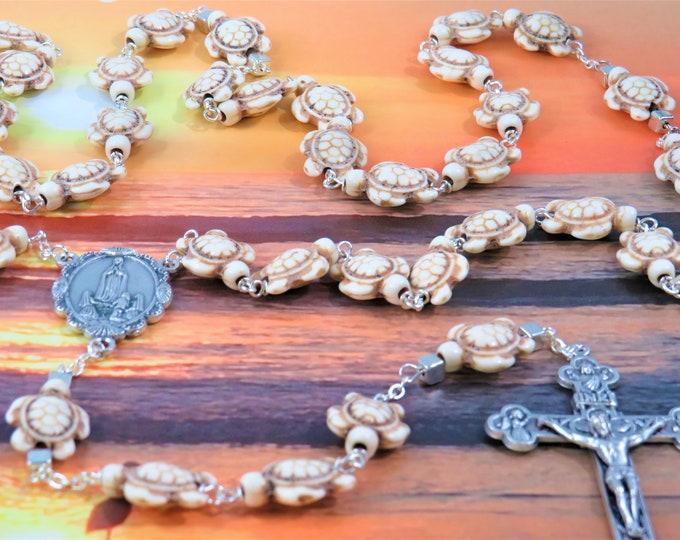 White Stone Turtle Rosary - White Stone Turtle Beads - Silver Accent Beads - Italian Our Lady of Fatima Center -Italian Eucharistic Crucifix