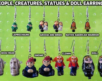 Leprechaun, Bride & Groom, Native American, Easter Island Moai, Gnome, Clown and Russian Doll Earrings - 7 Different Styles to Choose From