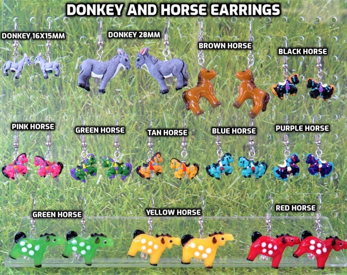 Donkey and Horse Earrings - Donkeys (2 Sizes) - Brown Horse - Black, Pink, Green, Tan, Blue, Purple Horses - Glass Red, Green, Yellow Horses