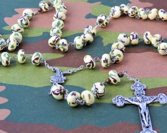 Camouflage Rosary - Camouflage Polymer Clay Beads - Brown Metal Accent Beads -  Italian St Michael Center - Italian Eucharistic Crucifix