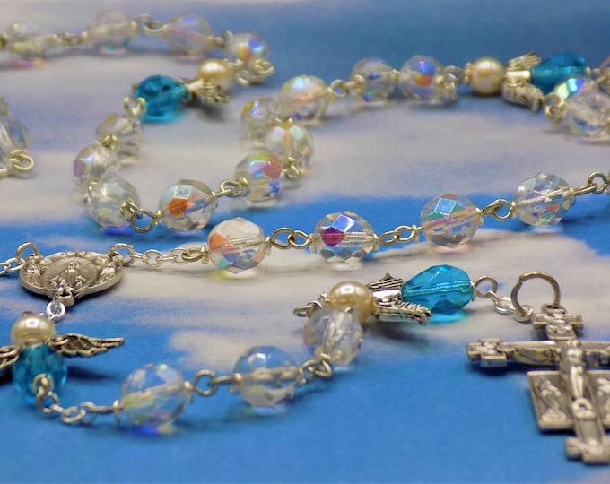 Crystal Angel Rosary - Czech AB Crystal Beads - Czech Aqua & White Pearl Beads - Italian Mary and Angels Center - Italian Angel Crucifix