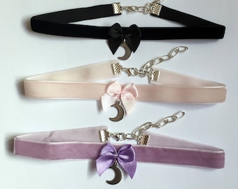 Crescent Moon Choker Necklace Pastel Goth Grunge Lilac Pink Bow Black Lace Velvet Collar Jewelry