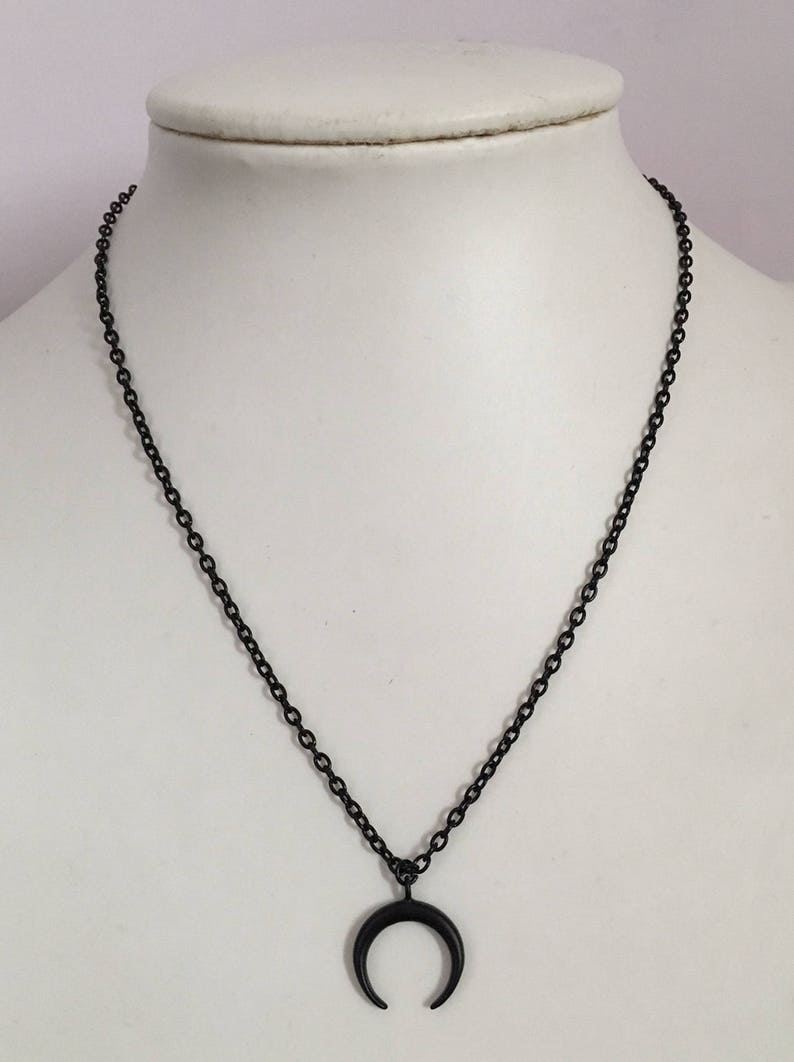 Crescent moon necklace Black Horn necklace Half moon necklace image 0
