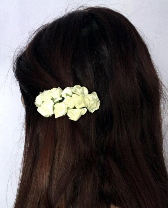 Les roses crème cheveux clip Bouquet mariage accessoires demoiselles d'honneur