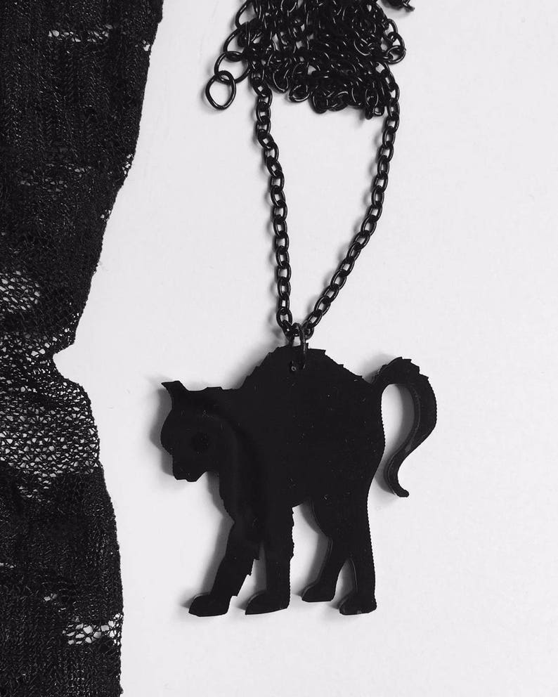 Black Cat Necklace Scared Spooked Witch Gothic Emo Grunge image 0
