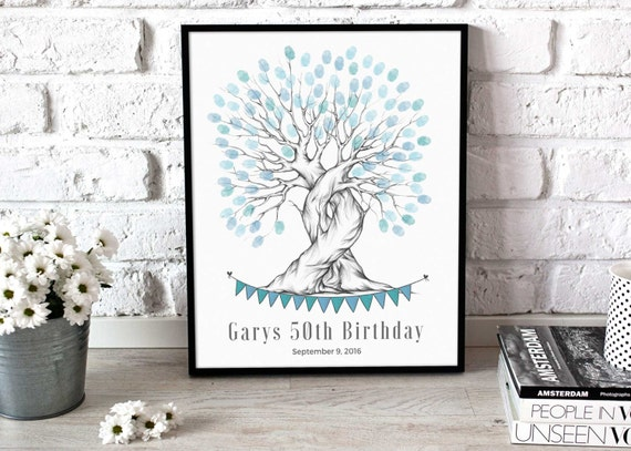 50th Birthday Gift Idea Finger Print Tree