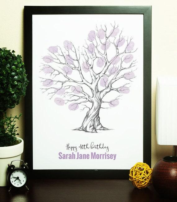 40 Geburtstag Geschenk Ideen Ein Fingerabdruck Baum Etsy