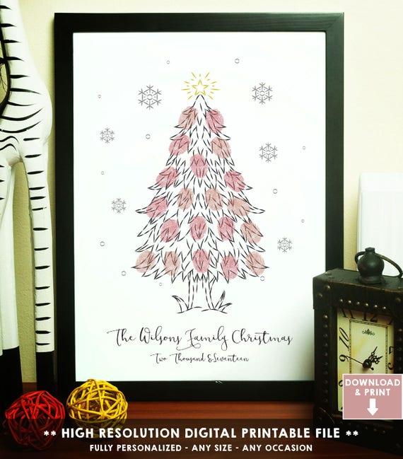 Geschenkideen Zu Weihnachten Weihnachtsbaum Fingerabdruck Etsy
