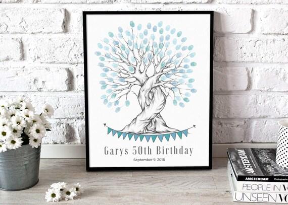 50th Birthday Gift Idea Finger Print Tree