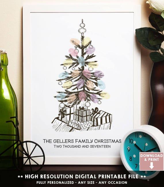 Weihnachts Geschenk Idee Fingerabdruck Weihnachtsbaum Etsy
