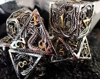 Silver Dragon Hollow Metal Dice Set | Dungeons & Dragons | DND DICE