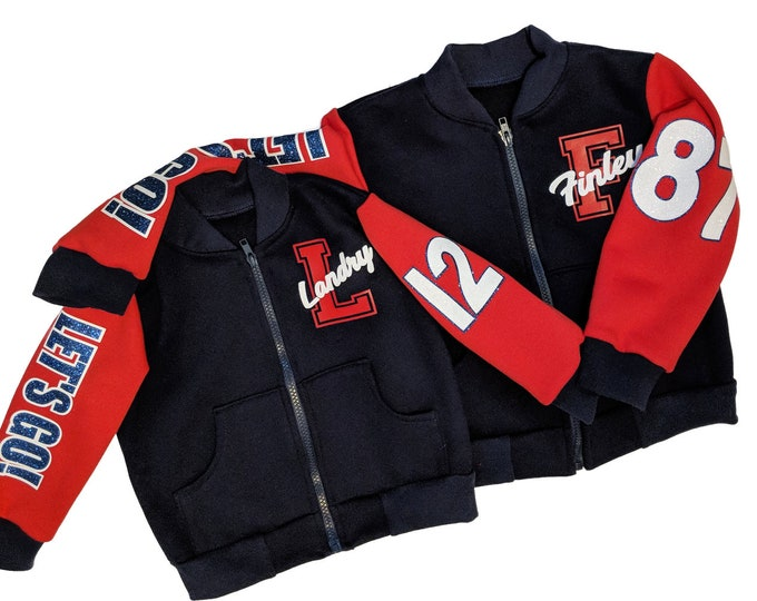 Navy blue personalized varsity jacket and hoody