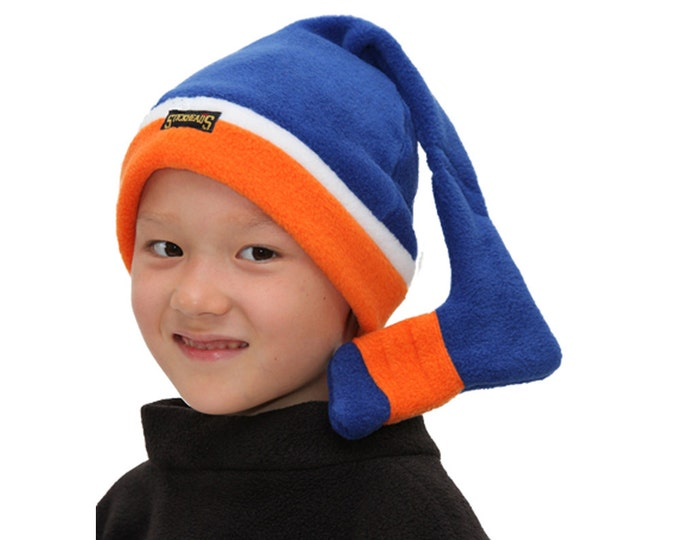 Royal and orange hockey hat / winter hat for hockey player