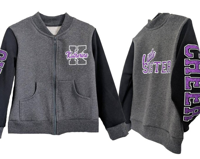 Charcoal grey personalized varsity jacket or hoodie