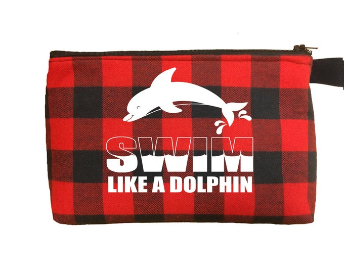 Buffalo plaid make up bag for swimming girl; toiletry case and travel bag for swim team gifts