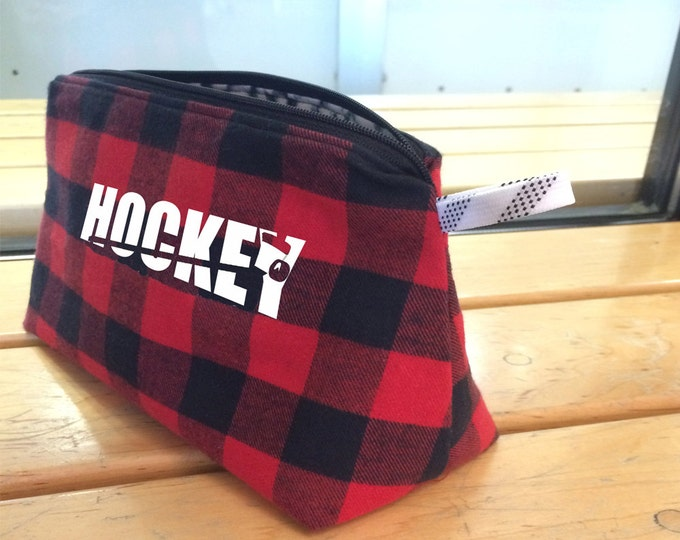 Hockey pencil case or team gift for boy; hockey travel bag