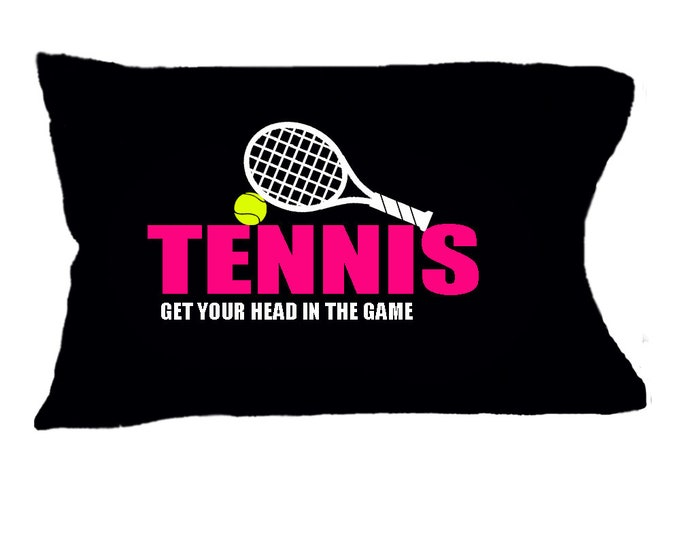 Gift for tennis player, customized tennis pillowcase, tennis team gifts, fun tennis gifts, tennis bedding, tennis camp pillowcase