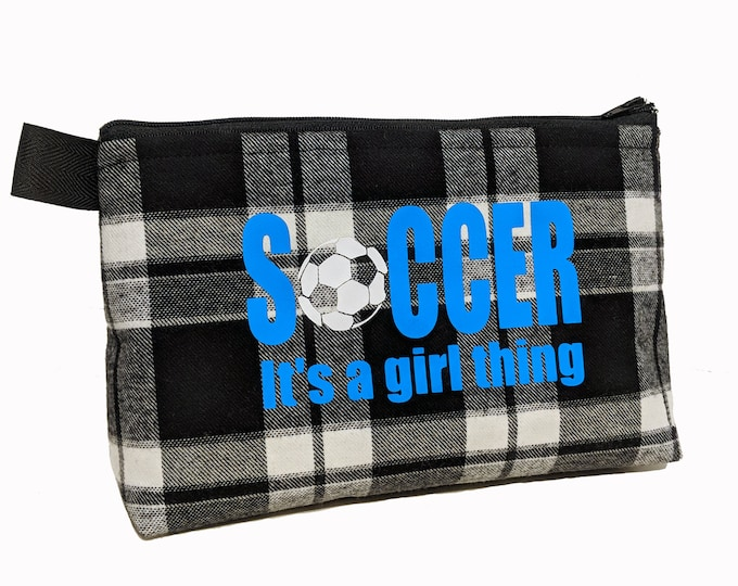 Make up bag personalized for soccer player team gifts; cosmetic pouch for teen; pencil case for back to school